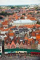 Aerial View Markt Square, Bruges, Brugge, Flanders,Belgium, UNESCO World Heritage Site.