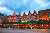 Buildings in Markt Square, Bruges, Brugge, Flanders,Belgium, UNESCO World Heritage Site.