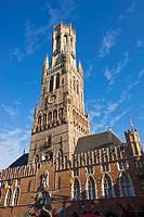 Belfry Historic centre of Bruges in Markt Square, Bruges, Brugge, Flanders,Belgium, UNESCO World Heritage Site.