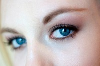 Close up of blue eyes of a 19 year old woman.