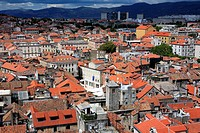 View of the city from the bell tower of the cathedral, Split, Split-Dalmatia county, Croatia