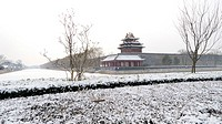 The Northeast Corner  The Forbidden City in Winter  Beijing  China.