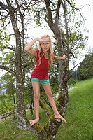 Austria, Mondsee, Girl 12_13 Years on a tree, portrait