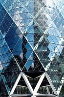 Swiss Re Tower or the Gherkin in the City of London financial district, London, UK