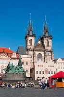 Staromeske square, Tyn church, and Jan Hus momument, Prague, Czech Republic, Europe
