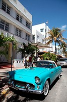 Old car on Ocean Drive, Miami Beach, Florida, USA