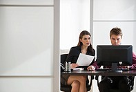 Pair of businesspeople working in office