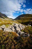 Scotland, Highland, Cairngorms National Park. Looking towards the Lairig Ghru from the foothills of the Lurchers Crag in the Cairngorms National Park
