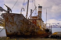 The old Whaler, Petrel, now beached and rusting, at the whaling station at Grytviken, South Georgia.Grytviken is now a research base for the British A...