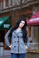 A fashion model in downtown Spokane, Washington, USA