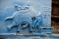 Stone carved elephant, running, religious symbol, entrance door, Blue city, Jodhpur, Rajasthan, India
