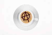 digital enhancement - clip image - circle A on cafe crema coffee foam - symbolism for anarchism
