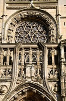 Notre Dame church 15th c  exterior west facade Caudebec en Caux Normandie 76 France