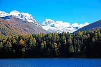 Switzerland, Canton Graubunden, Oberengadin, Silser Lake in autumn
