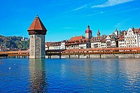 Swizterland, Canton Lucerne, Lucerne, Chapel Bridge and Water Tower