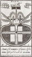 Garden of Eden. 18th century diagram showing the supposed layout of the Garden of Eden. The description in the Bible tells of a garden in a region cal...