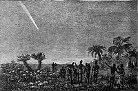 Great Comet of 1882, seen from South Africa. The comet is at upper left, seen in the night sky over a landscape of plants, with natives observing. Thi...
