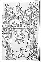 Pharmacy scenes. 16th_century artwork of physicians, students and various patients being treated with pharmaceutical products. This artwork is from ´O...