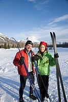 Couple at trailhead of cross_country ski trails.
