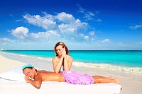 massage meditation shiatsu elbows pressure Caribbean beach woman