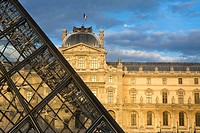 Glass pyramid and Palais du Louvre, nowadays Louvre museum, listed as World Heritage by UNESCO  Paris  France