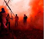 firework madness , devotee´s come under fire during a temple run , firework madness , phuket vegetarian festival , phuket, thailand