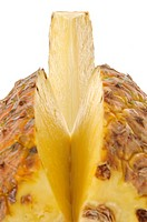 Cut pineapple on white background