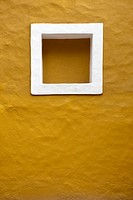 Square shaped inset on stucco wall