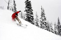 A snowboarder floats through powder on the snowy slopes.