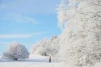 Woman walking in winter landscape