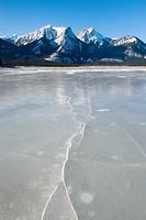 Frozen Athabasca River, Jasper National Park Alberta Canada