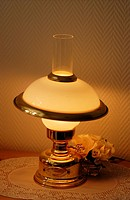 A modern table lamp looks like old