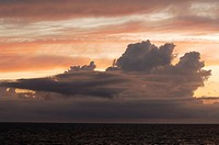 Beautiful cloud in the evening sky over the North Sea, Sylt, Germany