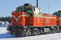 Cargo train at station Finland Europe