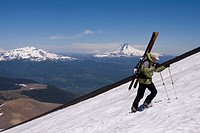 A man climbing up Lonquimay volcano in the andes mountains of Chile
