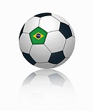Brazilian flag on football, close up
