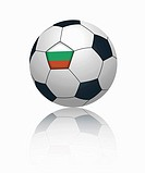 Bulgarian flag on football, close up