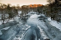View of frozen river habitat, River Hodder, from Doeford Bridge, Lancashire, England, december