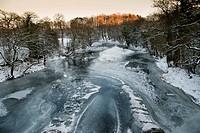 View of frozen river habitat, River Hodder, from Doeford Bridge, Lancashire, England, december