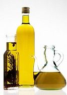 Olive Oil, Bottle against White Background
