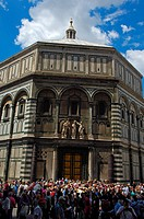 Florence, Baptistry, Gates of Paradise, East Door, Duomo square, Piazza del Duomo, Tuscany, Italy.