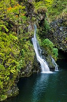Hawaii, Maui, Hana Coast, Hanawi Falls, View of waterfall flowing into pool of water.