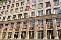 Building with US flags, New York City, USA