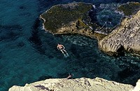Snorkeling on the coast of the Cabo de Gata - Nijar natural park, near San Jose, Almeria Province, Southern Spain