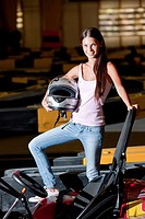 Young woman at go-cart race track