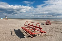 Empty P&#228;rnu Beach Bench in Estonia, Europe