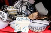 Various takiyah KUFI HATS on display , muslim morning market , kuala lumpur, malaysia