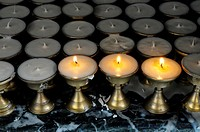 candle in hindu temple , kathmandu, nepal