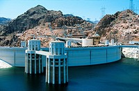 Hoover Dam and Lake Mead on the Colorado River in Nevada, USA