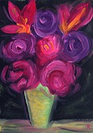 Floral painting titled 'Mardi Gras'
